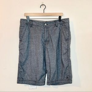 PRANA Men's Gray Hemp Blend Furrow Shorts Waist 33